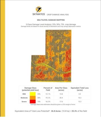 Skymatics Crop Damage Analysis Report Map