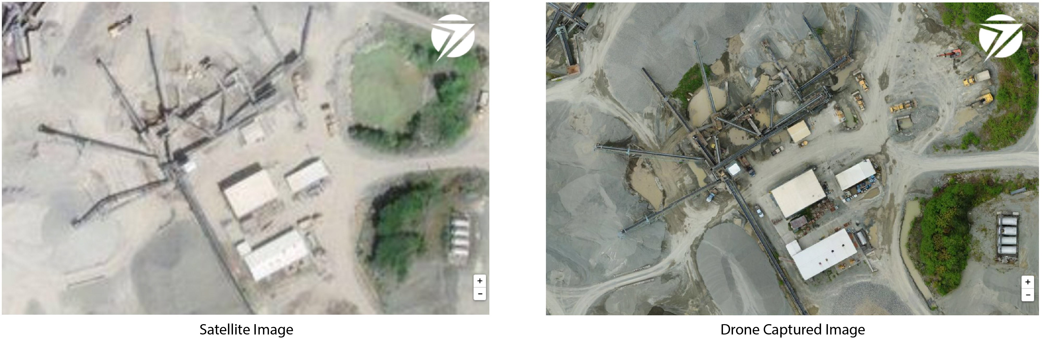 Satellite imagery is less clear than the drone captured imagery which is sharp