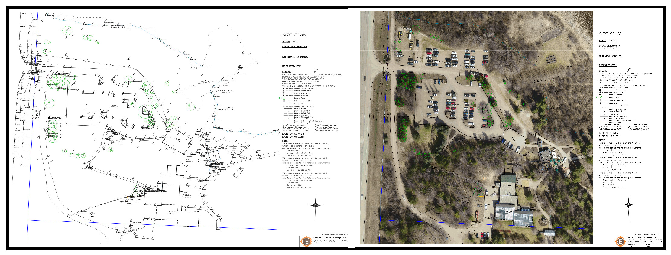 Survey Site Plan Is bare on the left and filled it, making it easy to understand with Skymatics drone Imagery